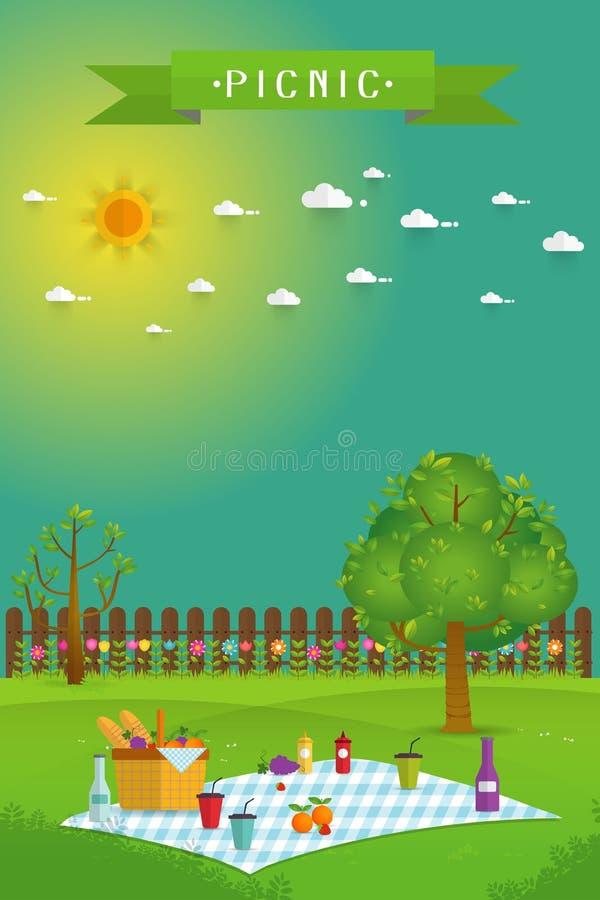 Υπαίθριο πικ-νίκ στον κήπο στοκ εικόνες με δικαίωμα ελεύθερης χρήσης