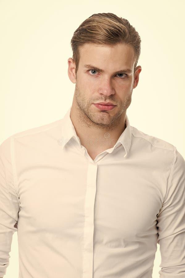 Υπαλληλικός εργαζόμενος Ξεκουμπωμένο υπαλληλικό κομψό απομονωμένο πουκάμισο άσπρο υπόβαθρο ατόμων καλά καλλωπισμένος Φαλλοκράτης  στοκ εικόνα