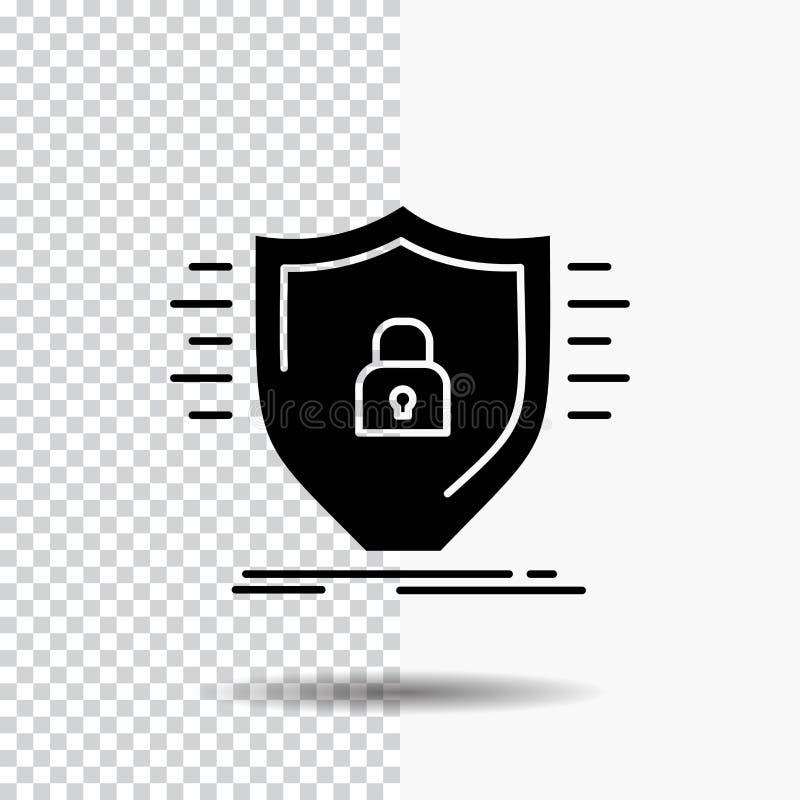 Υπεράσπιση, αντιπυρική ζώνη, προστασία, ασφάλεια, εικονίδιο Glyph ασπίδων στο διαφανές υπόβαθρο r διανυσματική απεικόνιση