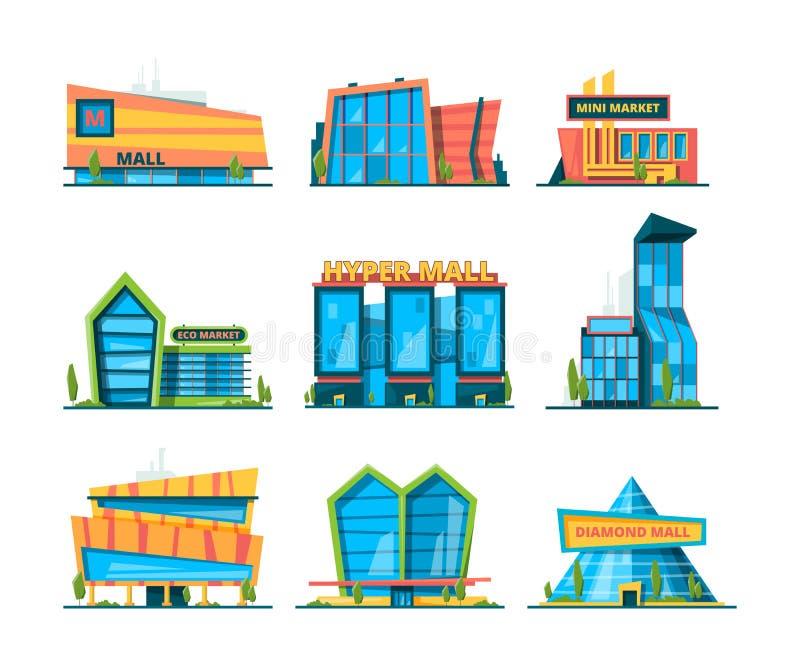 Υπεραγορά επίπεδη Λεωφόρος οικοδόμησης αγορών λιανική και σπίτια διανομής εξωτερικά της διανυσματικής συλλογής καταστημάτων διανυσματική απεικόνιση