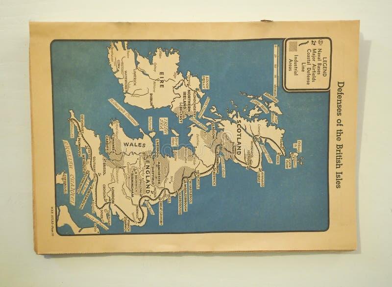 Υπερασπίσεις της βρετανικής δημοσίευσης νησιών από το Δεύτερο Παγκόσμιο Πόλεμο στοκ εικόνες