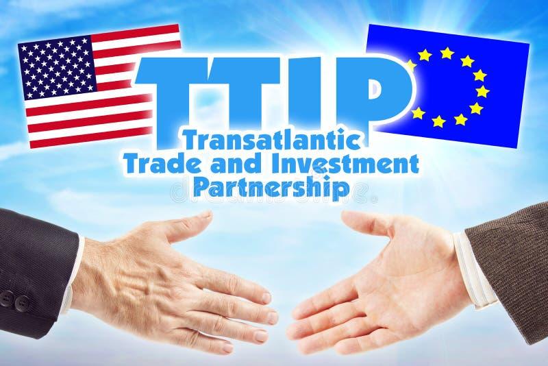 Υπερατλαντική συνεργασία εμπορίου και επένδυσης, TTIP Οικονομική ένωση μεταξύ της Ευρωπαϊκής Ένωσης των ΗΠΑ και στοκ εικόνα με δικαίωμα ελεύθερης χρήσης