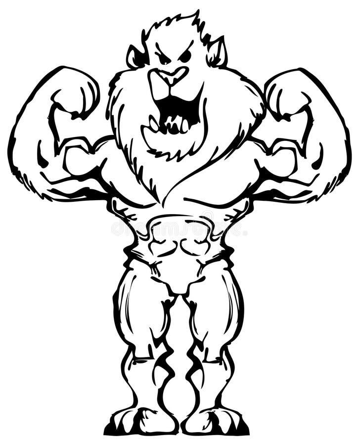 Υπερδύναμη λιονταριών Bodybuilder διανυσματική απεικόνιση