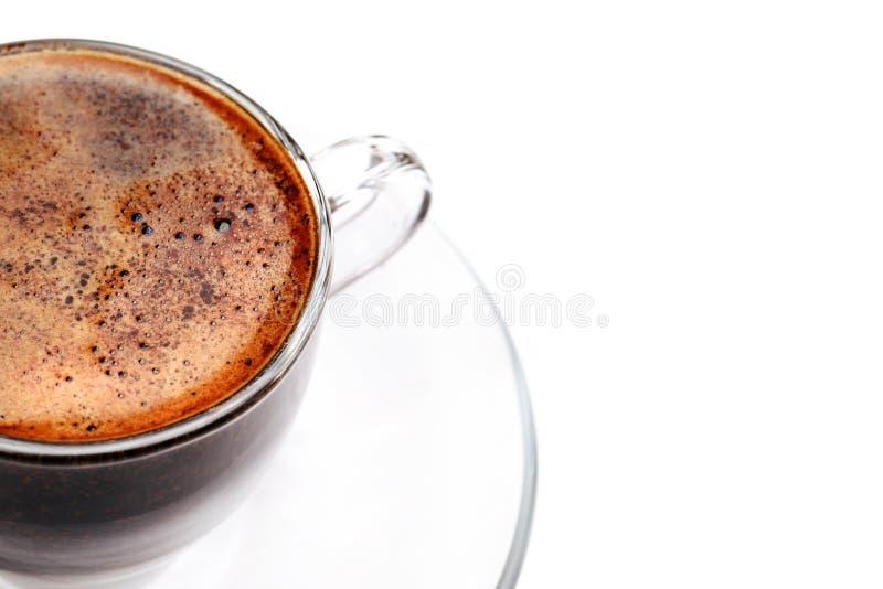 Υπερυψωμένη άποψη της κινηματογράφησης σε πρώτο πλάνο αφρού καφέ στοκ εικόνες