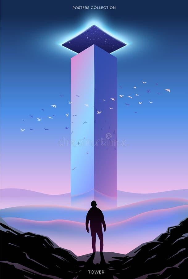 Υπερφυσική διανυσματική αφίσα Κίνητρο και επιτυχία Πύργος διανυσματική απεικόνιση