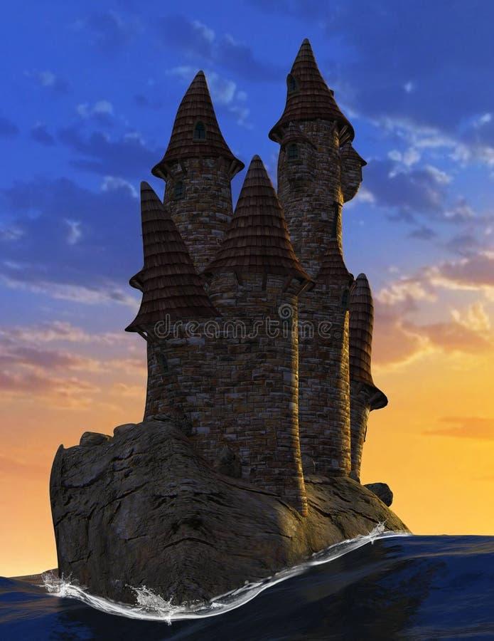 Υπερφυσική μεσαιωνική φαντασία το πέτρινο Castle στοκ φωτογραφία