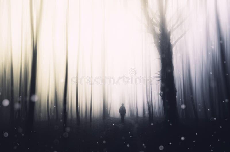 Υπερφυσική σκηνή με το άτομο στο δάσος με τους πετώντας σπινθήρες στοκ εικόνες