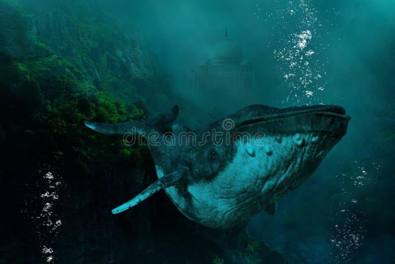 Υπερφυσική υποθαλάσσια φάλαινα Humpback, φύση διανυσματική απεικόνιση