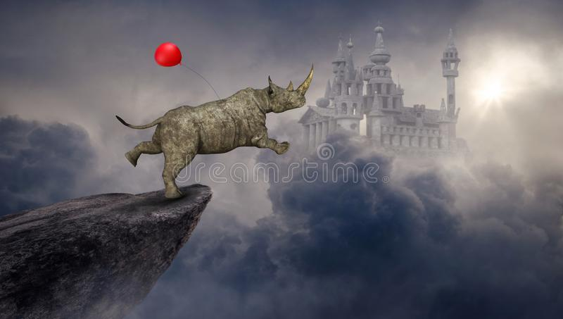 Υπερφυσικός ρινόκερος, ρινόκερος, φαντασία Castle διανυσματική απεικόνιση