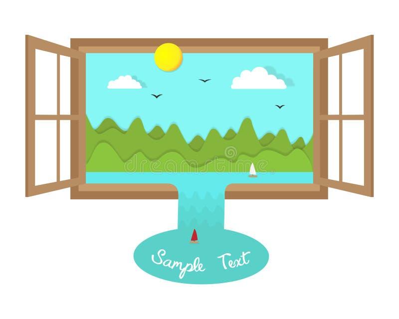 Υπερφυσικό τοπίο στο ανοικτό παράθυρο με την απεικόνιση περικοπών εγγράφου eco απεικόνιση αποθεμάτων