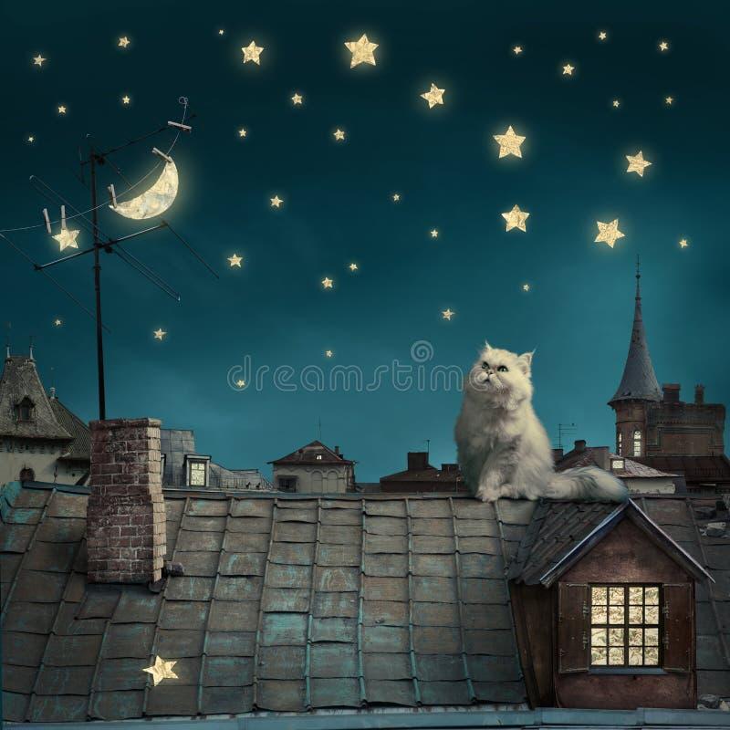 Υπερφυσικό υπόβαθρο τέχνης παραμυθιού, γάτα στη στέγη, νυχτερινός ουρανός με το μ στοκ εικόνα με δικαίωμα ελεύθερης χρήσης