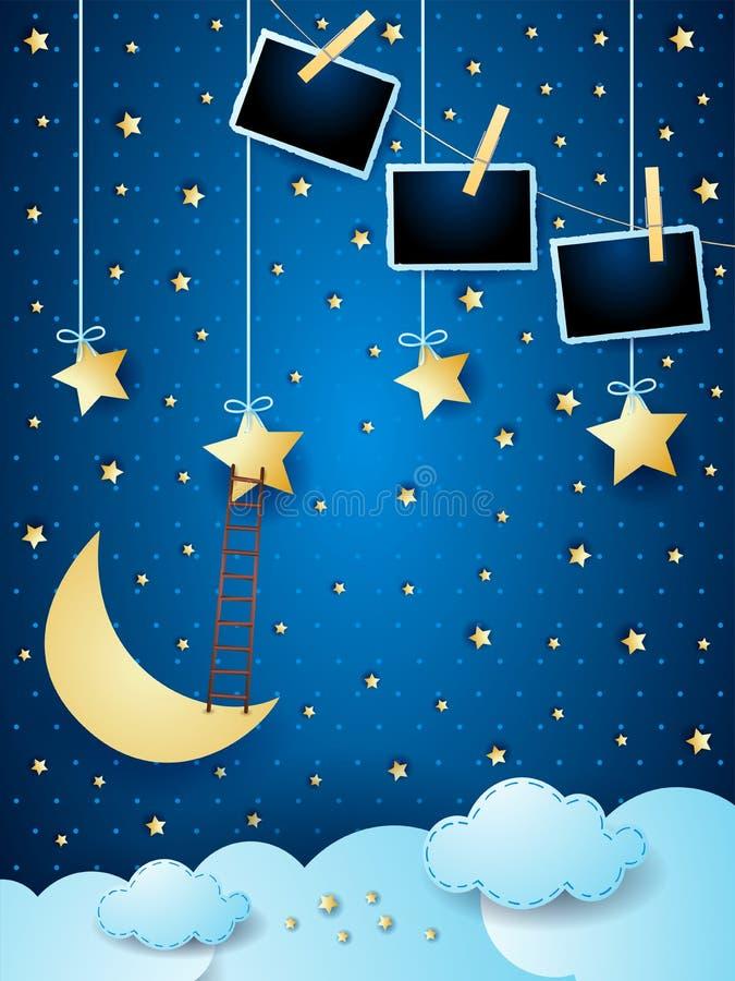 Υπερφυσικό cloudscape με το φεγγάρι, τα αστέρια, τα πλαίσια σκαλών και φωτογραφιών ελεύθερη απεικόνιση δικαιώματος