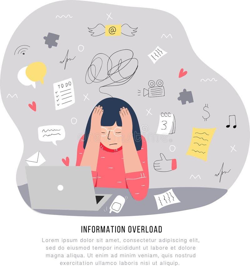 Υπερφόρτωση πληροφοριών και πολλαπλών καθηκόντων έννοια προβλημάτων Επίπεδη και handdrawn διανυσματική απεικόνιση διανυσματική απεικόνιση