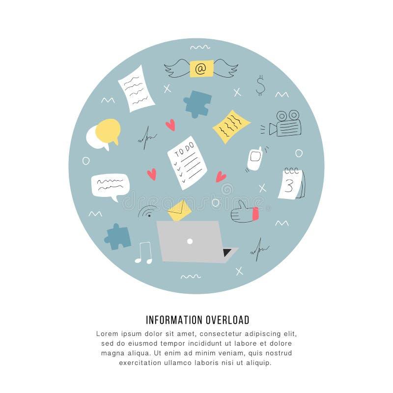 Υπερφόρτωση πληροφοριών και πολλαπλών καθηκόντων έννοια προβλημάτων Επίπεδη και handdrawn διανυσματική απεικόνιση απεικόνιση αποθεμάτων