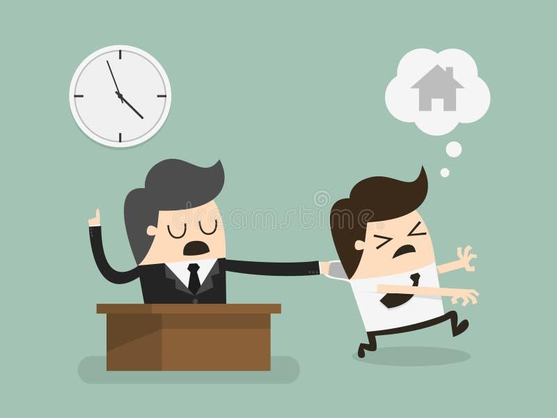 Υπερωρίες εργασίας ατόμων μισθών διανυσματική απεικόνιση