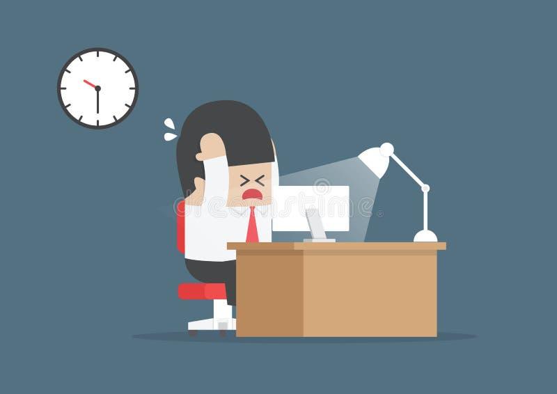 Υπερωρίες εργασίας επιχειρηματιών στο γραφείο του απεικόνιση αποθεμάτων