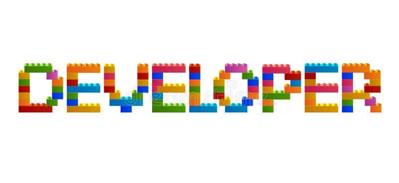 ΥΠΕΥΘΥΝΟΣ ΓΙΑ ΤΗΝ ΑΝΆΠΤΥΞΗ λέξης από τους φραγμούς του κατασκευαστή διανυσματική απεικόνιση