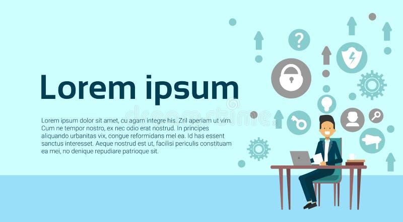 Υπεύθυνος για την ανάπτυξη Ιστού προγραμματιστών ατόμων που λειτουργεί στο φορητό προσωπικό υπολογιστή πέρα από το αφηρημένο υπόβ διανυσματική απεικόνιση