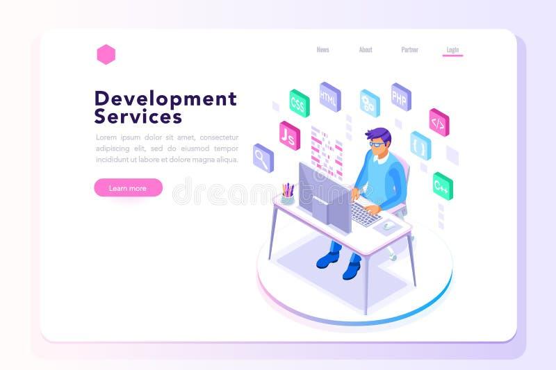 Υπεύθυνος για την ανάπτυξη προγράμματος για το έμβλημα ιστοχώρου απεικόνιση αποθεμάτων