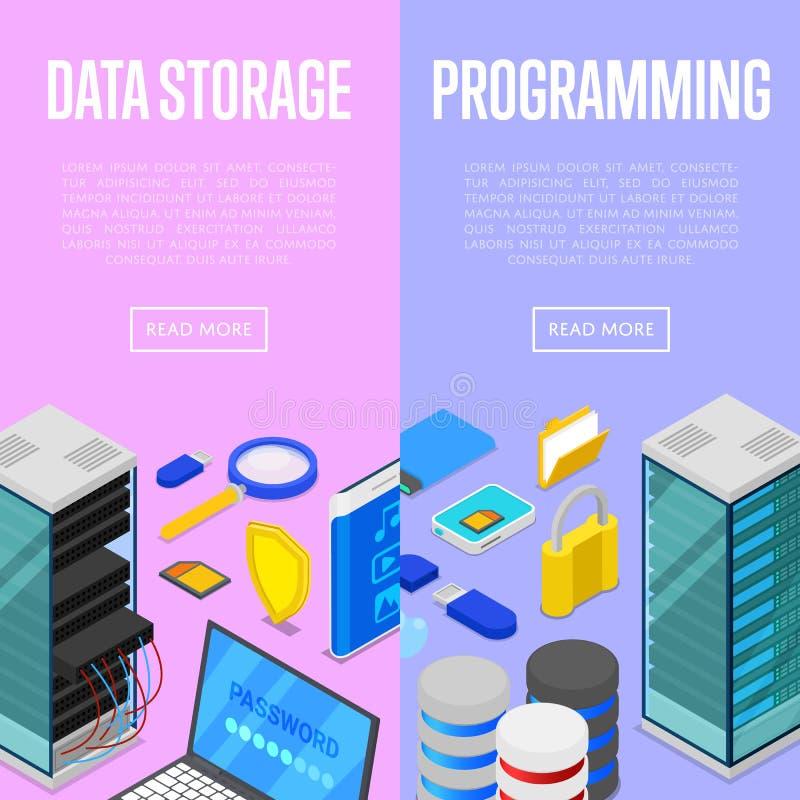 Υπηρεσία αποθήκευσης στοιχείων και programing αφίσες διανυσματική απεικόνιση