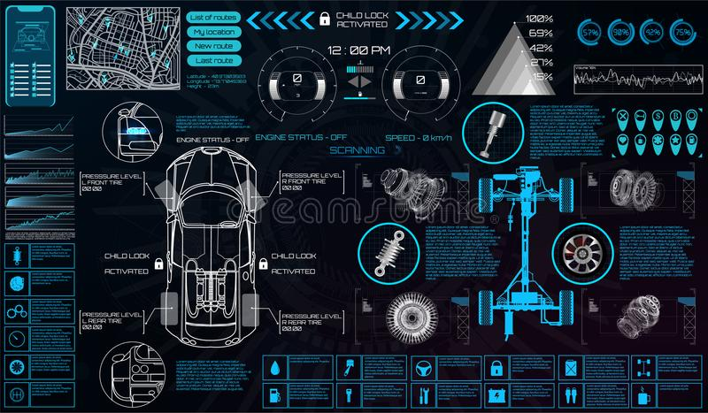 Υπηρεσία αυτοκινήτων στο ύφος HUD διαπροσωπεία εικονική διανυσματική απεικόνιση