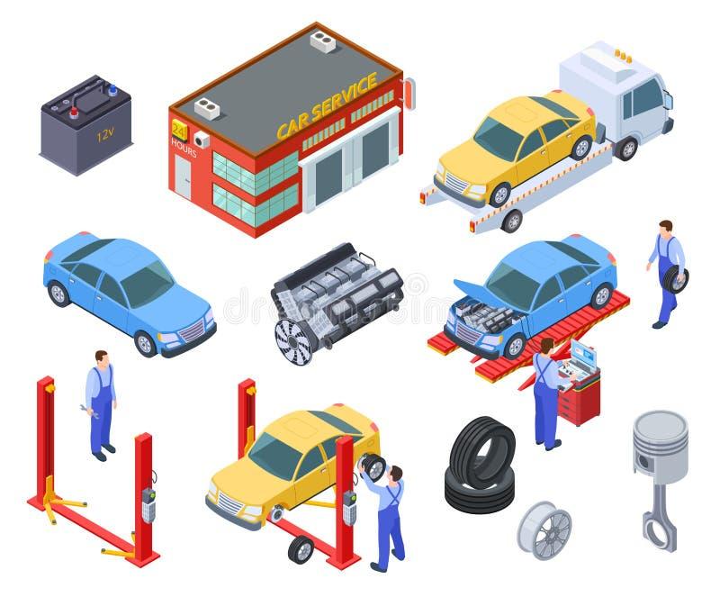 Υπηρεσία αυτοκινήτων isometric Οι άνθρωποι επισκευάζουν τα αυτοκίνητα με τον αυτόματο βιομηχανικό εξοπλισμό Οι τεχνικοί αντικαθισ απεικόνιση αποθεμάτων