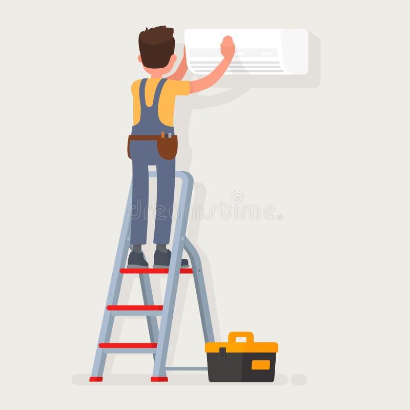 Υπηρεσία για την επισκευή και τη συντήρηση των κλιματιστικών μηχανημάτων επίσης corel σύρετε το διάνυσμα απεικόνισης διανυσματική απεικόνιση