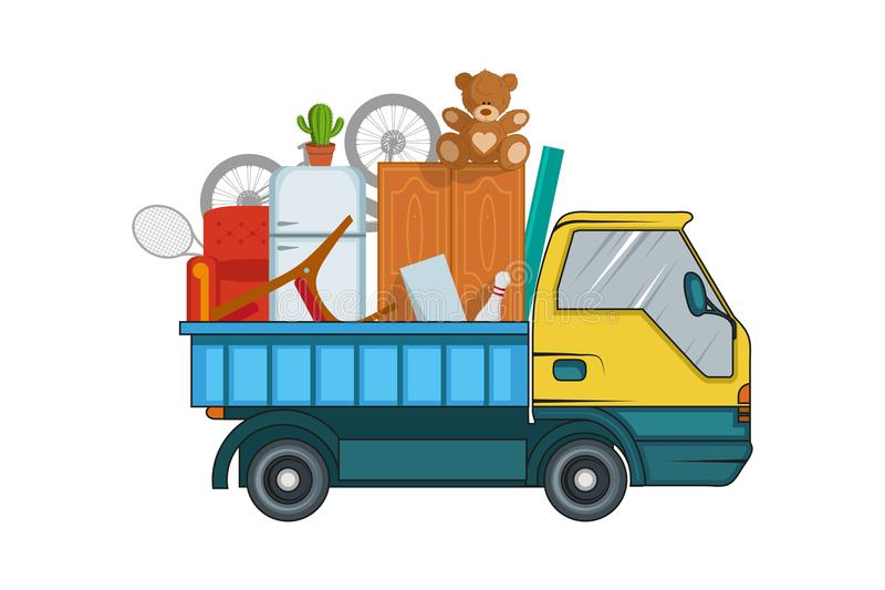 Υπηρεσία επανεντοπισμού κίνηση έννοιας Το φορτηγό φορτίου μεταφέρει Απεικόνιση φορτηγών φορτίου παράδοσης Επιχείρηση μεταφορών ελεύθερη απεικόνιση δικαιώματος