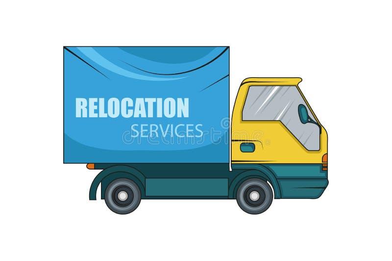 Υπηρεσία επανεντοπισμού κίνηση έννοιας Το φορτηγό φορτίου μεταφέρει Απεικόνιση φορτηγών φορτίου παράδοσης Επιχείρηση μεταφορών διανυσματική απεικόνιση