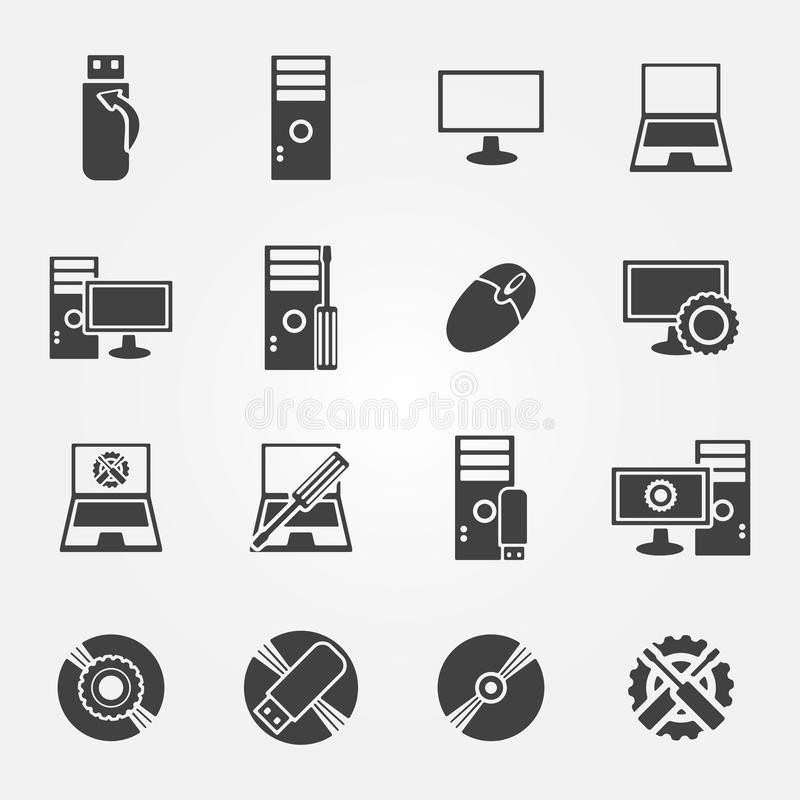 Υπηρεσία επισκευής υπολογιστών και σύνολο εικονιδίων συντήρησης ελεύθερη απεικόνιση δικαιώματος