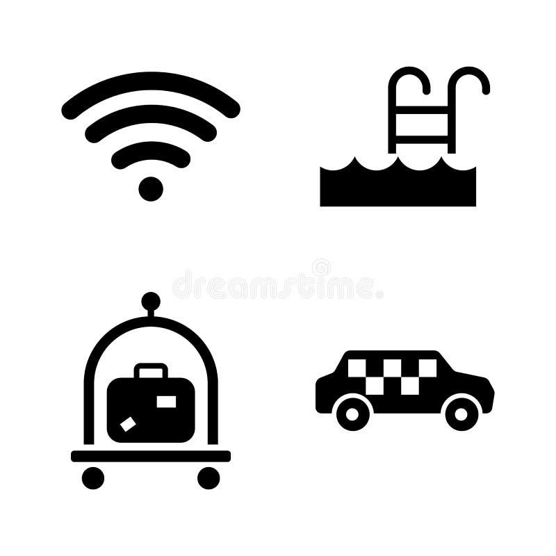 Υπηρεσία ξενοδοχείων Απλά σχετικά διανυσματικά εικονίδια απεικόνιση αποθεμάτων
