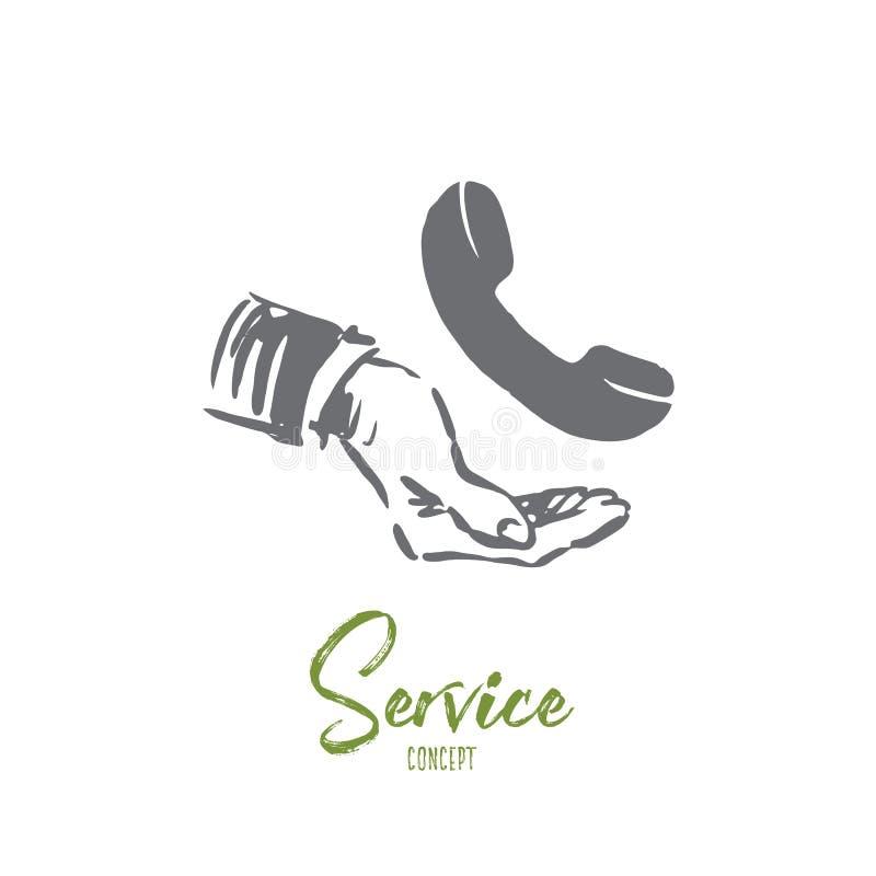 Υπηρεσία, πελάτης, επιχείρηση, υποστήριξη, έννοια τηλεφωνικών κέντρων Συρμένο χέρι απομονωμένο διάνυσμα ελεύθερη απεικόνιση δικαιώματος