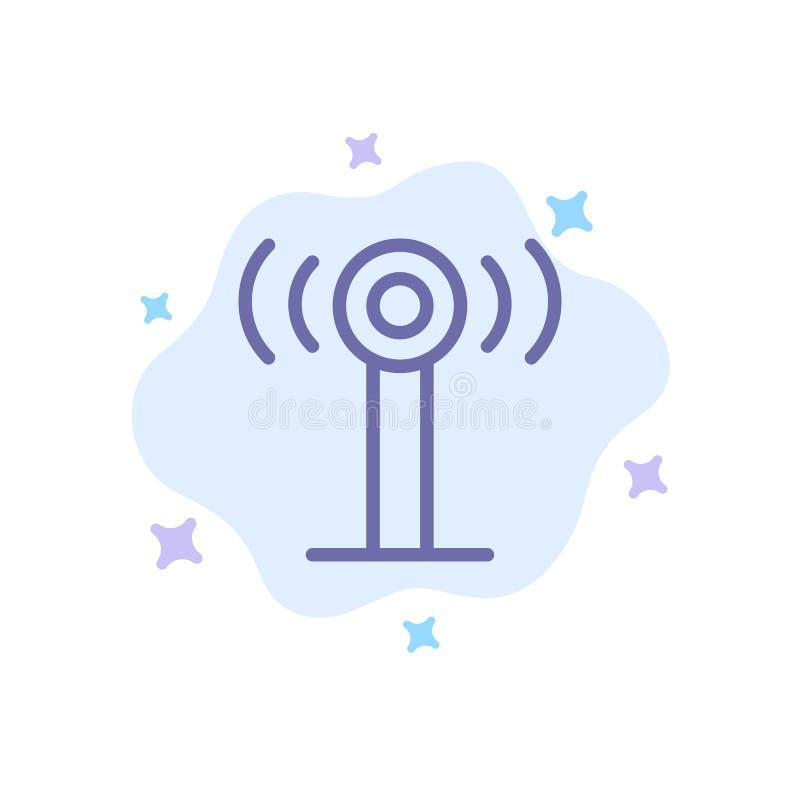 Υπηρεσία, σήμα, μπλε εικονίδιο Wifi στο αφηρημένο υπόβαθρο σύννεφων διανυσματική απεικόνιση