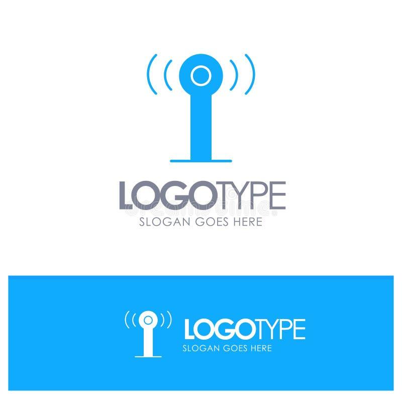 Υπηρεσία, σήμα, μπλε στερεό λογότυπο Wifi με τη θέση για το tagline διανυσματική απεικόνιση