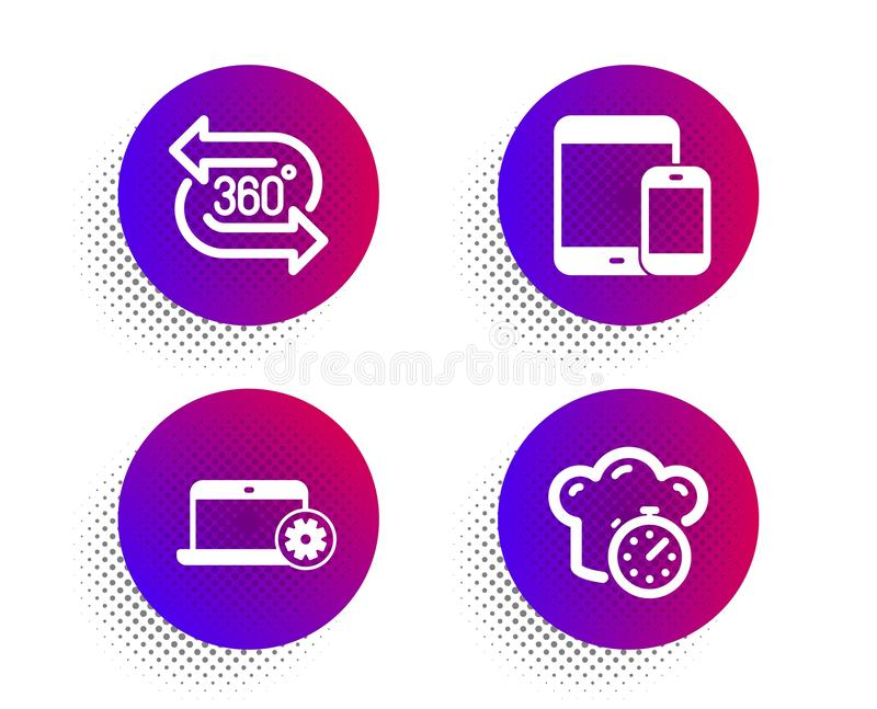 Υπηρεσία σημειωματάριων, 360 βαθμός και κινητά εικονίδια συσκευών καθορισμένοι Μαγειρεύοντας σημάδι χρονομέτρων r διανυσματική απεικόνιση