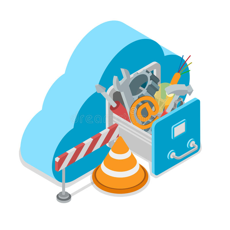 Υπηρεσία σύννεφων κάτω από την κατασκευή Η μορφή σύννεφων σύρει διανυσματική απεικόνιση