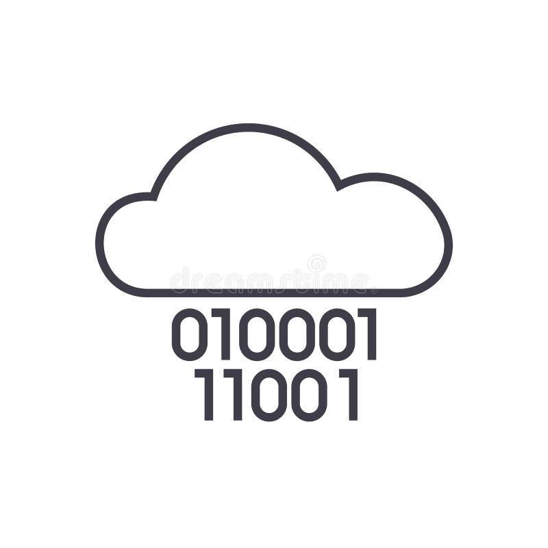Υπηρεσία σύννεφων, ψηφία μηδενικά ένα, διανυσματικό εικονίδιο γραμμών δυαδικού κώδικα, σημάδι, απεικόνιση στο υπόβαθρο, editable  ελεύθερη απεικόνιση δικαιώματος