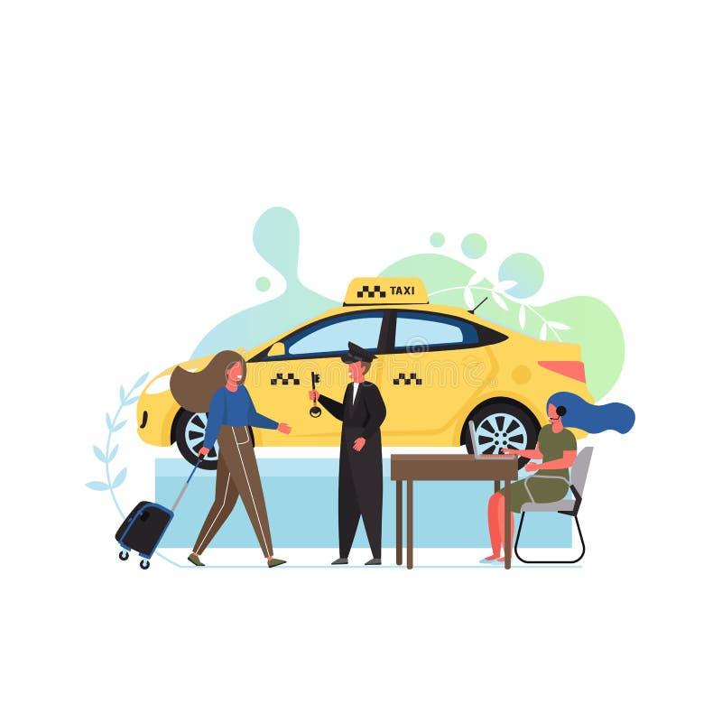 Υπηρεσία ταξί, διανυσματική επίπεδη απεικόνιση σχεδίου ύφους απεικόνιση αποθεμάτων