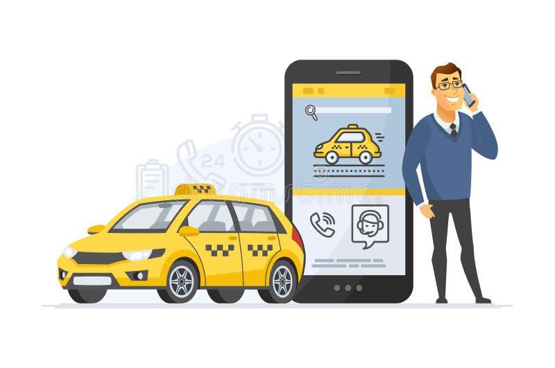 Υπηρεσία ταξί - σύγχρονη διανυσματική απεικόνιση χαρακτήρα κινουμένων σχεδίων απεικόνιση αποθεμάτων