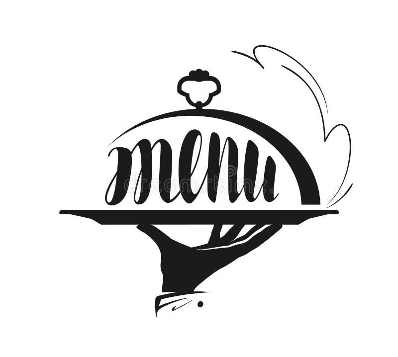 Υπηρεσία τροφίμων, που εξυπηρετεί το λογότυπο Εικονίδιο για το εστιατόριο ή τον καφέ επιλογών σχεδίου απεικόνιση αποθεμάτων