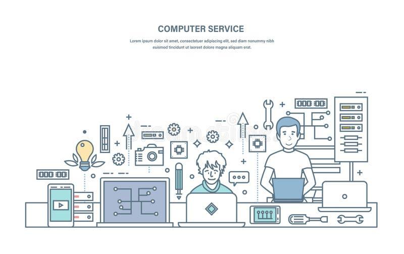 Υπηρεσία υπολογιστών Επισκευή, συντήρηση του εξοπλισμού στο κέντρο υπηρεσιών διανυσματική απεικόνιση