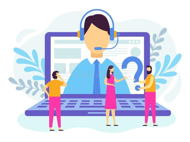 Υπηρεσία υποστήριξης πελατών Χειριστής τηλεφωνικών κέντρων, τεχνική υποστήριξη 24 7 και προσωπικό βοηθητικό διάνυσμα υπηρεσιών διανυσματική απεικόνιση