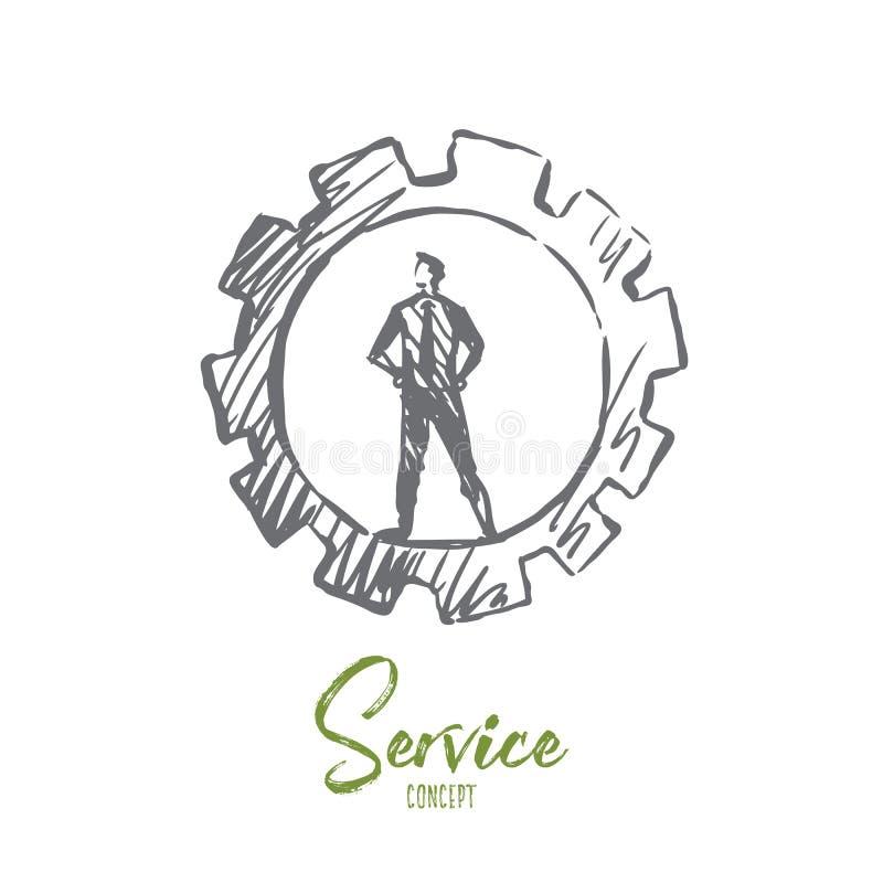 Υπηρεσία, υποστήριξη, πελάτης, επιχείρηση, έννοια επισκευής Συρμένο χέρι απομονωμένο διάνυσμα απεικόνιση αποθεμάτων