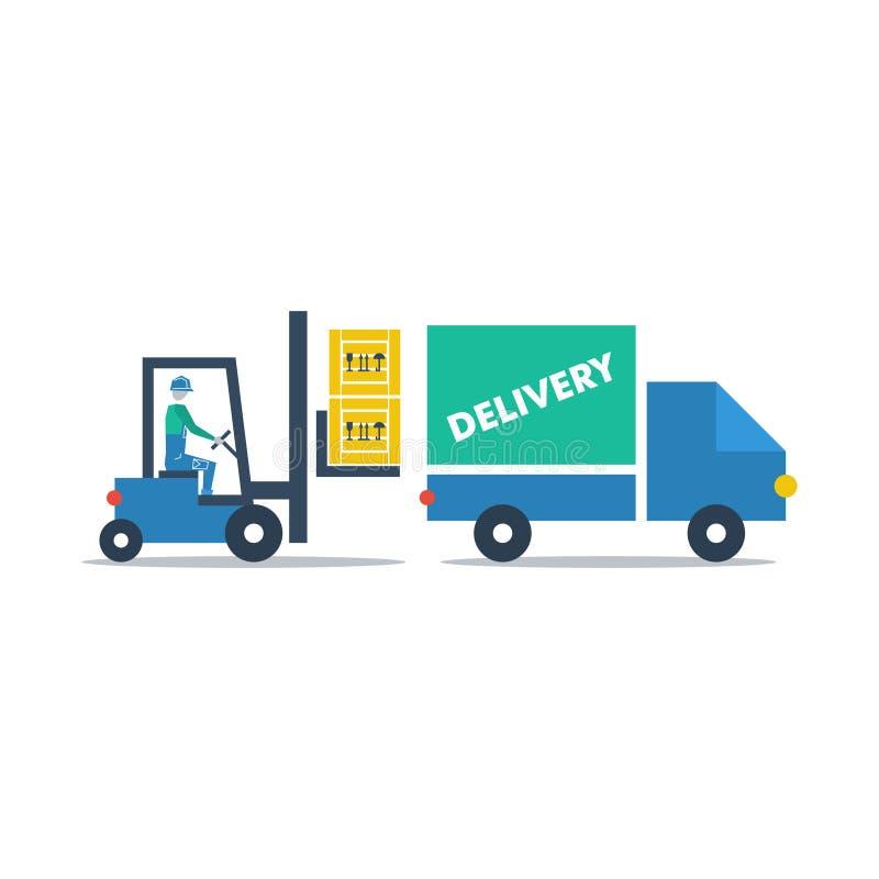 Υπηρεσίες αποθηκών εμπορευμάτων, κιβώτια φόρτωσης οδηγών φορτηγού δικράνων διανυσματική απεικόνιση