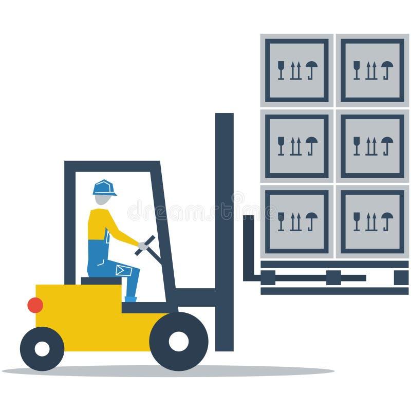 Υπηρεσίες αποθηκών εμπορευμάτων, κιβώτια φόρτωσης οδηγών φορτηγού δικράνων απεικόνιση αποθεμάτων