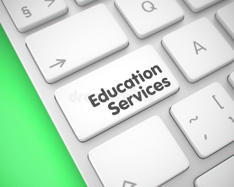 Υπηρεσίες εκπαίδευσης - κείμενο στο άσπρο κουμπί πληκτρολογίων τρισδιάστατος διανυσματική απεικόνιση