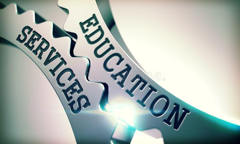 Υπηρεσίες εκπαίδευσης - μηχανισμός Cogwheels μετάλλων τρισδιάστατος απεικόνιση αποθεμάτων