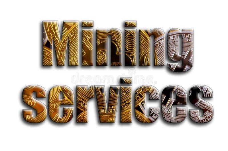 Υπηρεσίες μεταλλείας Η επιγραφή έχει μια σύσταση της φωτογραφίας, η οποία απεικονίζει διάφορα bitcoins στοκ φωτογραφία με δικαίωμα ελεύθερης χρήσης