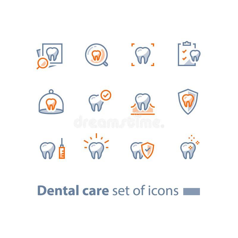 Υπηρεσίες στοματολογίας, οδοντική περίθαλψη, έλεγχος πρόληψης επάνω, υγιεινή και θεραπεία, εικονίδια γραμμών διανυσματική απεικόνιση