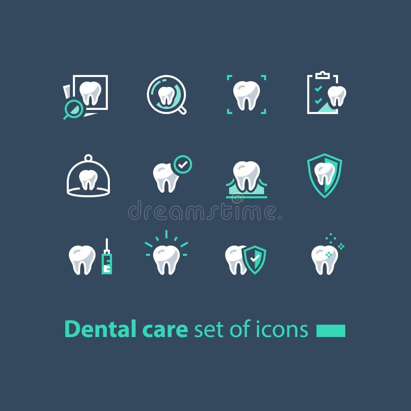 Υπηρεσίες στοματολογίας, οδοντική περίθαλψη, έλεγχος πρόληψης επάνω, υγιεινή και θεραπεία, εικονίδια γραμμών απεικόνιση αποθεμάτων